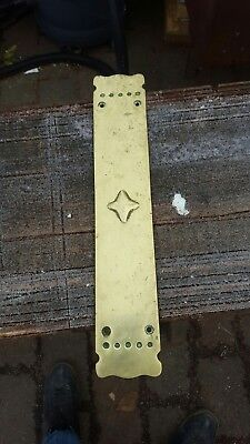 Antique Brass Door Finger Push Plate Art Nouveau Vintage   14.5""