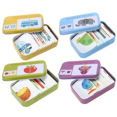 Child Learn English Match Puzzle  Montessori Cognitive Card Education Toy Pop