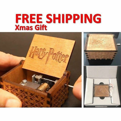 Harry Potter Engraved Wooden Hand-cranked Music Box Kid Toys Xmas Gifts in Box