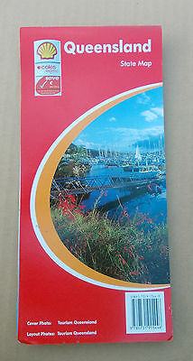 QUEENSLAND State Map SHELL Road Map service Station   free post