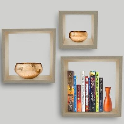 Set of 3 Square Wood Wall Box Shelves Maple Unique Cube Modern Style Home