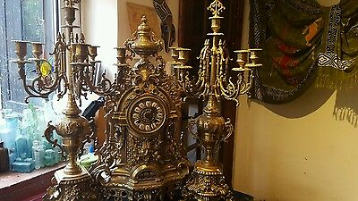 Vintage antique retro brass ornate clock and candlearbras