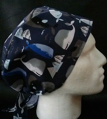 WHALES TB theatre hat medical hospital scrub cap odp surgeon doctor nurse vet