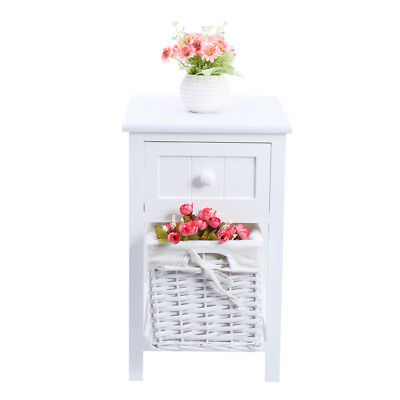 Chic Bedroom Bedside Table Unit Cabinet Nightstand with Wicker Basket Storage UK