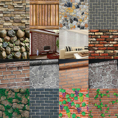 3D Stone Pattern Brick Wall Paper Sticker Kitchen Bathroom Home Waterproof PVC