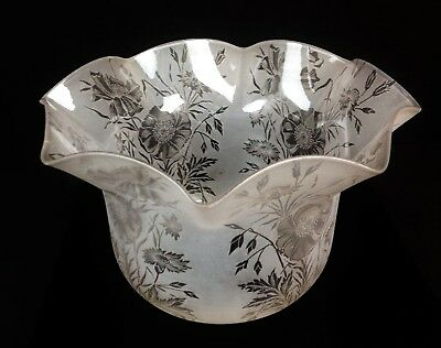 Fine 19th Century Acid Etched Floral Glass Oil Lamp Shade- Antique Frilled Art