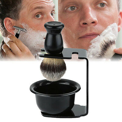 ABS Men's Resin Faux Badger Bristle Men's Shaving Brush &Suction Cup Stand Bowl#