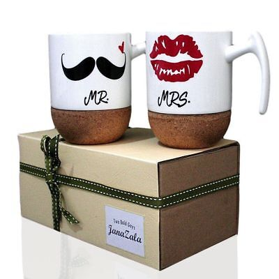 Funny Couples Mr and Mrs Coffee Mugs Engagement Anniversary Present Gifts Set