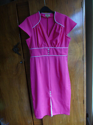 BNWOT  hot Pink white vintage retro 1940s style lindy bop dress size 14