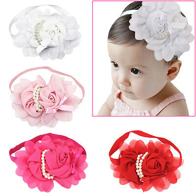 Infant Kid Girl Baby Toddler Headband Flower Hair Bow Band Accessories~