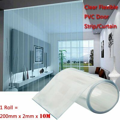 Soft Clear Flexible PVC Door Strip/Curtain 200mm x 2mm x10m/20m/30m Available UK