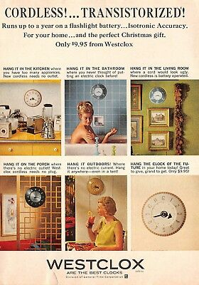 VTG Westclox Cordless Clock Print Ad 1963 Color Magazine Clairol Come Alive Gray