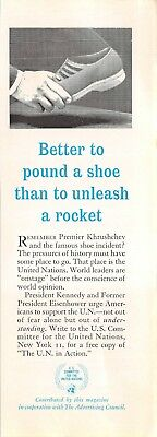 Vintage United Nations UN Print Ad 1963 Magazine Better to Pound a Shoe