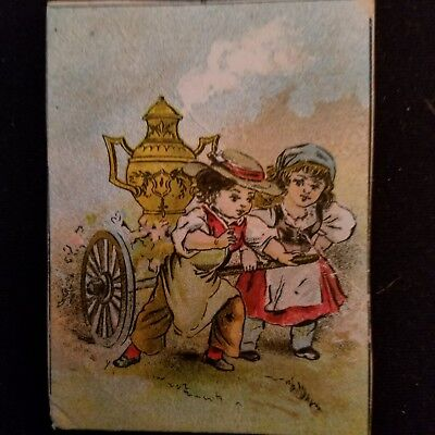 """OLD DILWORTH COFFEE ADVERTISING 2.5 x 3"""" Trading Card  Boy & Girl pulling Urn"""