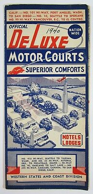 Vintage Highway 99 101 Road Map DeLuxe Motor Courts California Motels Photo 1940