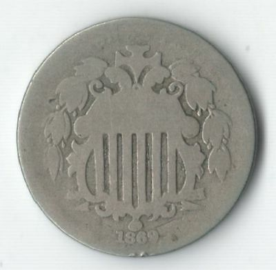 1869 Shield Nickel - Nice type coin - FREE SHIPPING
