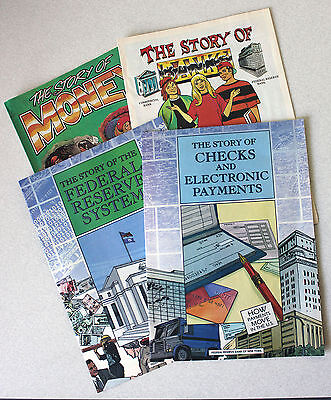 Lot of 4 Federal Reserve Bank of New York Comics Story of Money Banks 2004-05