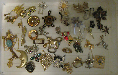 Large Lot Of 40 Vintage Brooches & Pins