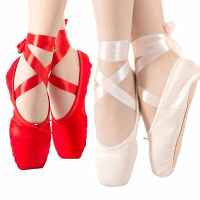 Kids Adult Canvas Hard Sole Pointe Ballet Dance Shoes Satin Ballet Shoes HL