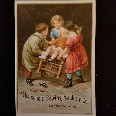 Household Sewing Machine Co. VICTORIAN TRADE CARD vtg  Prov.RI