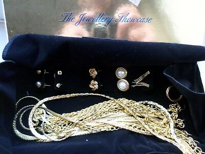 18 piece gold tone costume jewellery Showcase by Gino Poli lot 1