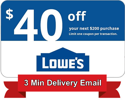 1x Lowes $40 off $200 Discount Code - Online Only - Expires 1/28/2018