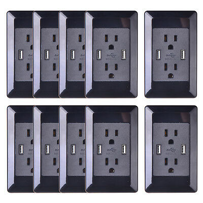 10PK 15A Dual USB Charger Outlet Tamper Resistant Duplex Receptacle W/Wall Plate