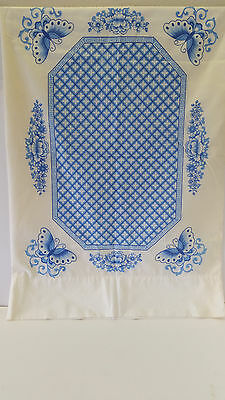 Vintage Retro Blue & White Butterfly/Floral Flowers Pillowcase