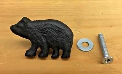 Cast Iron Bear Drawer Pull Handle Cabinet Knob Rustic Decor New