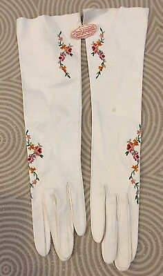 Vintage Denise Francelle Embroidered White Leather Gloves~New w Tags~Size 6 3/4