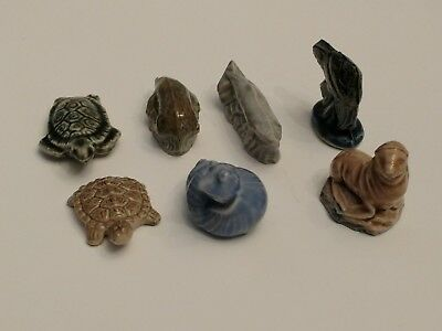 7 Vintage Signed Wade ENGLAND Miniature Turtle Snail Platypus Fish Seal Whale #4