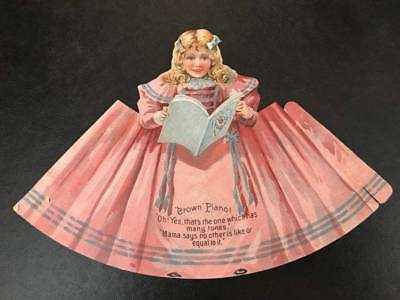 Antique PAPER DOLL NO. 1, Crown Pianos & Organs, Pink Gown, Pretty Face, c1880