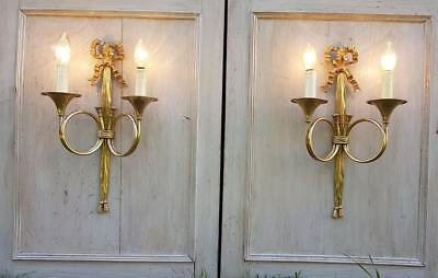 Pair of French Louis XVI Style  hunting horn gilt  Wall Sconces
