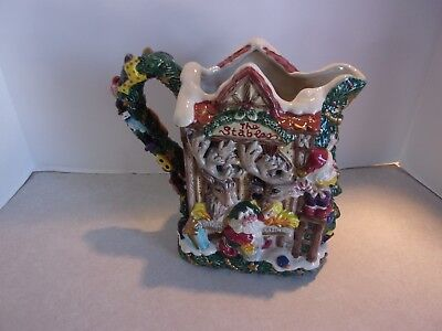 Retired Fitz & Floyd Santa Christmas Workshop Ceramic Pitcher