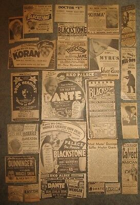 14 newspaper ads for vintage magician and mentalist acts usually on stage in the
