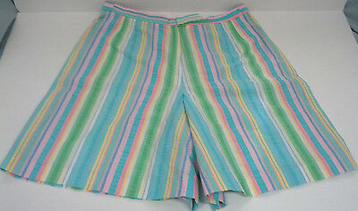 vintage high waist shorts skort multi color  seersucker made in USA culottes