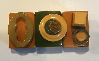 Vintage Gold and Olive Green Art Deco Pin Brooch Early Plastic - Very Nice Piece