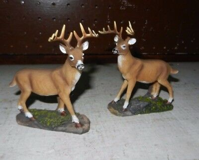 2 White Tail Buck Deer Figure Forest woods  lot of 2 1 left 1 right /  4""