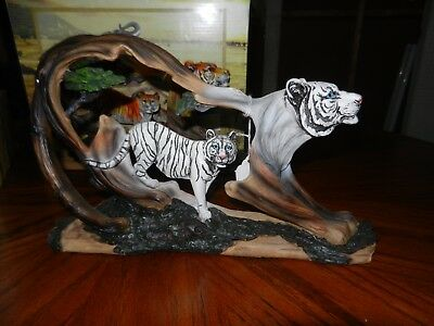 White Tiger Collectible Wild Cat Animal Figurine Statue 1 foot by7 1/2 inch tall