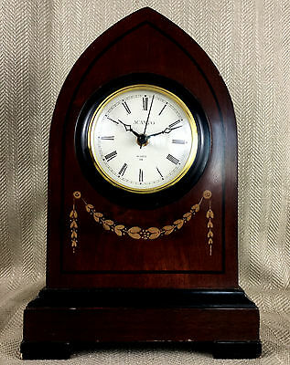 Large Mantle Clock Wood Wooden Victorian Gothic Revival Antique Style