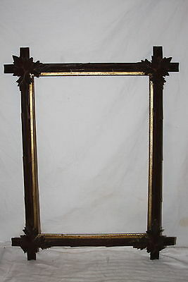 Antique Victorian Adirondack Black Forest Leaf Corner Gilt Liner Picture Frame