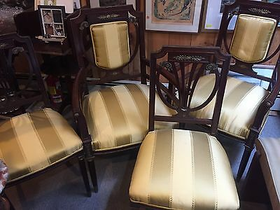 """Antique 4 Traditional Dining Chairs 2 Arm Mahogany Cherry Brass Gold Seat Ht 20"""""""