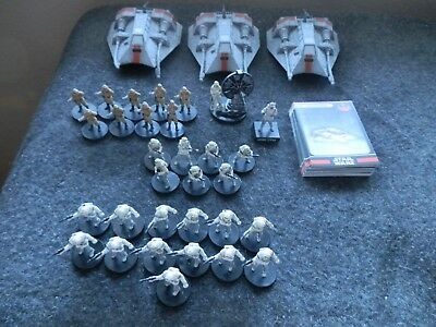 Star Wars Miniatures Rebels Hoth Army Builder Lot with Stat Cards Snow Speeders