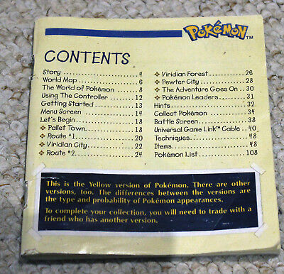 *no Game Pokemon Red Blue + Yellow Trainer's Guide Instruction Manual Gameboy