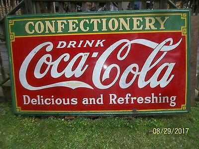 VERY Large Antique Coca Cola Porcelain Sign