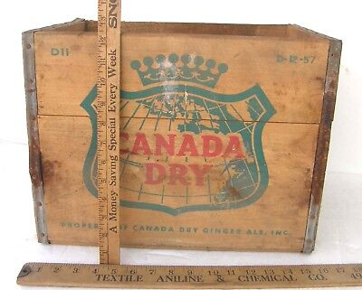 Vintage 1957 Canada Dry Advertising Wooden Crate Box Sturdy Cool Storage