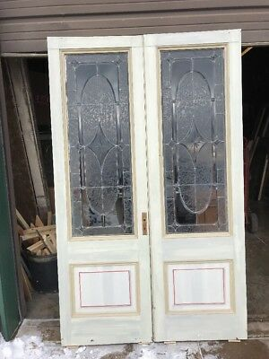 An 444 Match Pair Antique Beveled Textured Glass French Doors 50 W by 81.75h