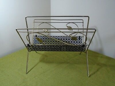 Vintage Brass & Metal Mesh Mid-Century Modern Magazine Newspaper Rack
