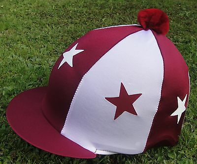 Riding Hat Silk Skull cap Cover BURGUNDY MAROON WHITE * STARS With OR w/o Pompom