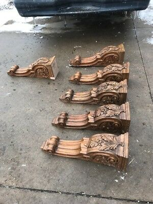 Six Matching Oak Carved Wood Corbels 26 1/2 X 7 1/2 Wide By 9 Inches Deep